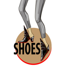 fashion shoes with circle banner vector image