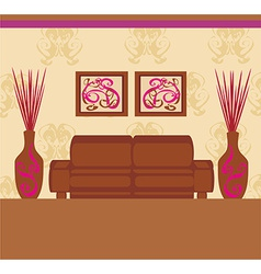 Fashionable interior of living room - vector image