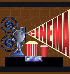 Film projector movie ticket cinema vector