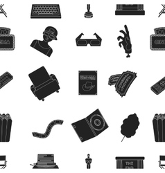 Films and cinema pattern icons in black style Big vector