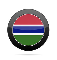 flag of gambia shiny black round button vector image