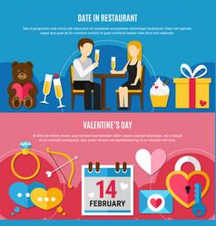 flat valentines day banner set vector image