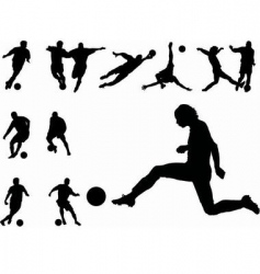 footballers silhouettes vector image