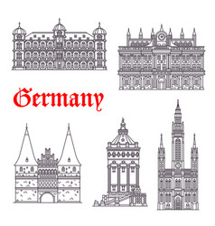 Germany historic buildings architecture vector