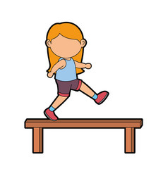 girl doing aerobics vector image