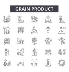 grain product line icons signs set vector image