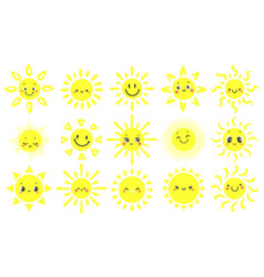 hand drawn sun cute bright suns with funny vector image