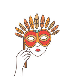 hand holding elegant festive mask and covering vector image