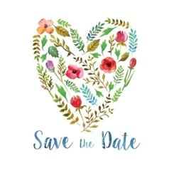 Heart watercolor leaves wedding invitation vector
