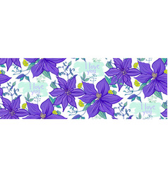 horizontal pattern with purple flowers on a white vector image