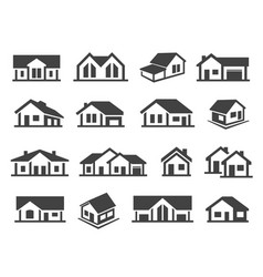 Houses exterior black glyph icons set vector
