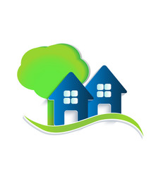 houses tree and waves logo vector image