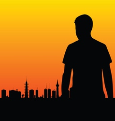 man and the city vector image