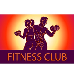 Man and woman Fitness template Gym club logotype vector image