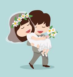 man hold women on hand couple wedding vector image