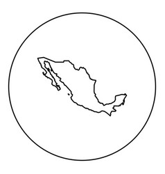 map of mexico icon black color in round circle vector image