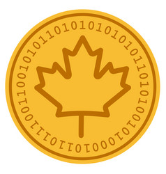 Maple leaf digital coin vector