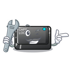 Mechanic capslock button isolated with cartoon vector