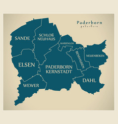 Modern city map - paderborn city of germany with vector