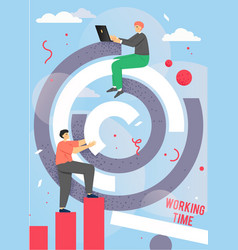 office working time poster design template vector image