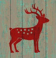 old wooden background and deer vector image