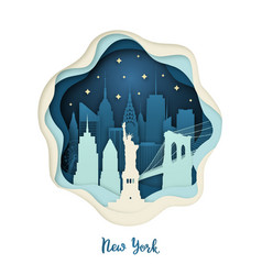 paper art of new york origami concept vector image