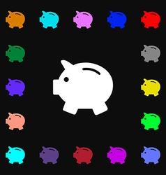 Piggy bank - saving money icon sign Lots of vector