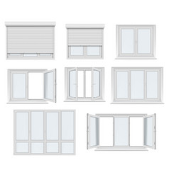 plastic window and door with roller shutter mockup vector image