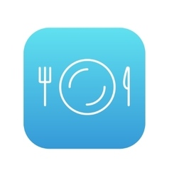 Plate with cutlery line icon vector image