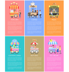 Popcorn coffee pizza candy cotton and ice cream vector