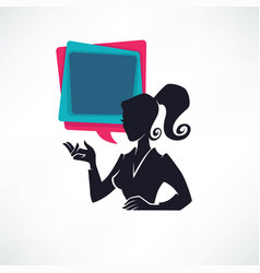 Professional chat logo business lady silhouette vector