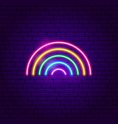 Rainbow neon sign vector