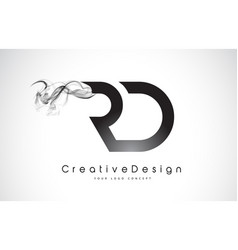 Rd letter logo design with black smoke vector