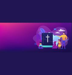 Religious summer camp concept banner header vector