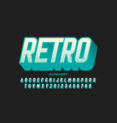 retro style font retro alphabet letters and vector image