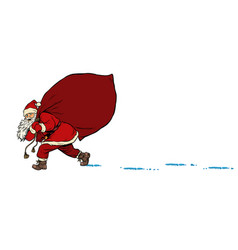 santa with a bag gifts christmas and new year vector image