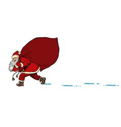 santa with a bag gifts christmas and new year vector image