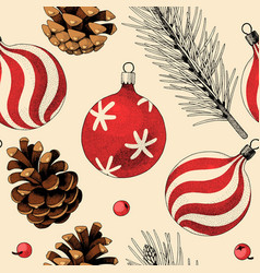 seamless pattern with pine cones and xmas toys vector image