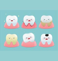 set cute little teeth vector image