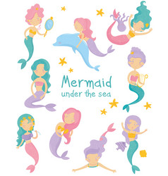 Set of beautiful mermaids little girls with vector