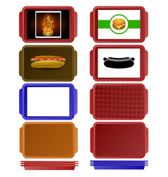 Set of colorful salvers vector