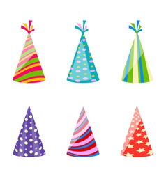 Set of party colorful hats isolated on white vector image