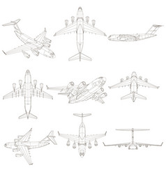 set with contours of the aircraft the contours of vector image