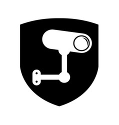 Shield insurance with cctv camera isolated icon vector