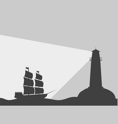 Ship on the water with a lighthouse vector