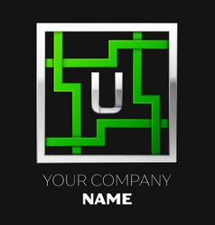 silver letter u logo symbol in the square maze vector image