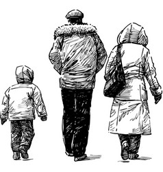 sketch a family citizen going down the vector image
