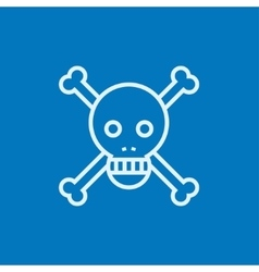 Skull and cross bones line icon vector image