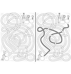 Snowman maze vector image vector image