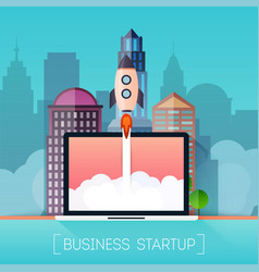 Successful startup business concept rocketship on vector